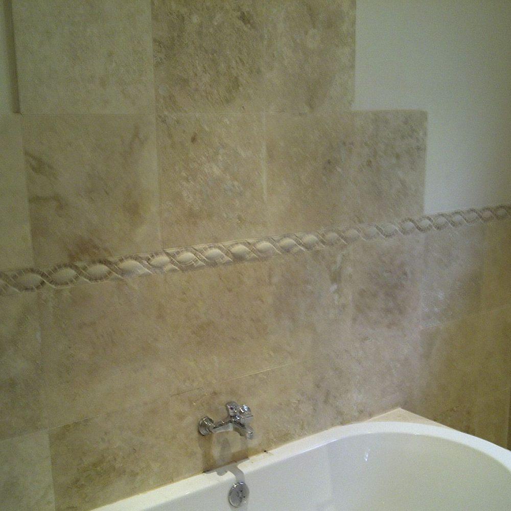 Bathroom walls tiling done