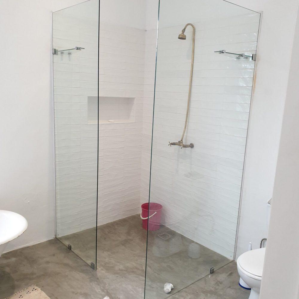 Shower walls tiling done